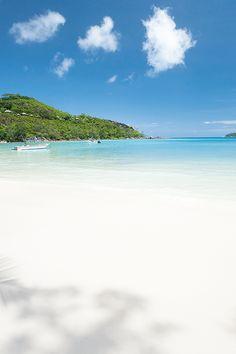 White sandy beach of Seychelles...
