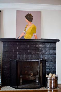 black brick fireplace painting brick fireplaces and black fireplace. Black Bedroom Furniture Sets. Home Design Ideas