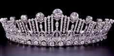 Atchitectural Art Deco tiara belonging to Princess Sibilla of Luxembourg.  A versatile piece - the top tier can be removed to make a tiara with less height