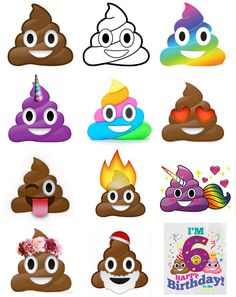 Find the poop Scavenger Hunt - cut up all these poop emojis and hide them.  Give each child a sheet to go around and find them.