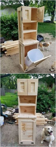 Its quite unique to note around if you would view a special waste bin that is created with the wood pallet. This idea on our list is one of such concepts! In this idea of wood pallet recycling you will find the waste bin that is incorporated with the cabi Wood Pallet Recycling, Pallet Crafts, Diy Pallet Projects, Home Projects, Recycling Projects, Simple Projects, Diy Crafts, Pallet Furniture Designs, Furniture Ideas