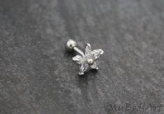 Crystal Flower Cartilage Stud, Tragus Earring, Helix Piercing – MyBodiArt