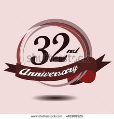 32nd anniversary logo with circle composition soft chocolate color and ribbon