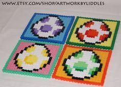 4 x 8 bit yoshi egg Coasters hama perler beads sprites nintendo. €7.99, via Etsy.