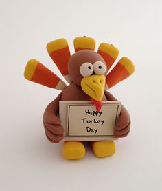 CraftyGoat's Notes: Tutorial for Polymer Clay Turkey. Great place holder or table decor! #thanksgiving