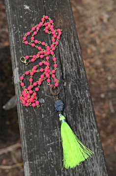 Long Neon Tassel Necklace hot pink rosary by practicallyfrivolous