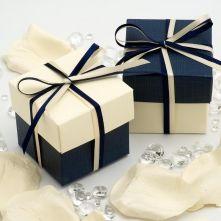 Navy Silk Two Tone Favour Boxes