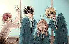 Strobe Edge - Gacchan, Ren, Ninako and Andou Manga Art, Manga Anime, Anime Art, Strobe Edge Manga, Ao Haru, Blue Springs Ride, Manga Couple, Another Anime, My Escape