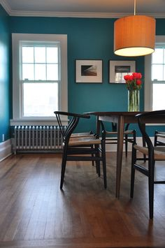 Slow Home Space Planning & Organization: The Dining Room.  Benjamin Moore Surf Blue