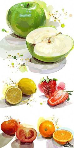 New Fruit Illustration Poster Kitchens Ideas New Fruit, Fruit Art, Fruit And Veg, Illustration Au Crayon, Watercolor Illustration, Fruits Drawing, Food Drawing, Watercolor Fruit, Watercolor Drawing