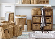 A stylish and useful bathroom essential made from water hyacinth - these smart baskets are perfect for adding texture to your home and storing all your odds and ends to keep rooms neat and tidy! Available from Marks & Spencer. 3 piece round basket set for £39.50