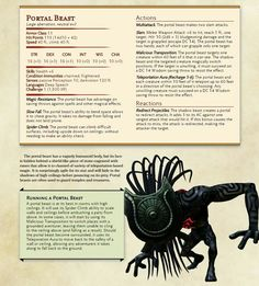 Portal Beast. From Tumblr (dnd -5e-homebrew)