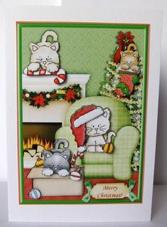 Playful Christmas Kitties Topper   Decoupage on Craftsuprint created by Margaret…
