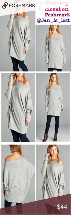 """Gray Long Tunic or Dress A long sleeve tunic or even a dress featuring kimono sleeves and a off the shoulder look. Small measures 33"""" in length. Fabric: 96% Polyester, 4% Spandex Tops Tunics"""
