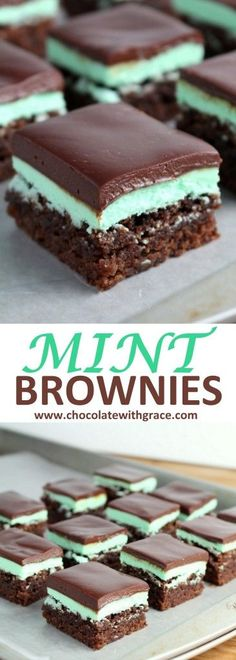 Mint Brownies Chocolate Ganache | Christmas party recipe