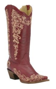 Corral Ladies Red w/Cream Embroidery Snip Toe Western Boots | Cavender's #Cavenders #BootoftheDay ♥