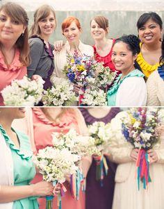 bright colored bridesmaids