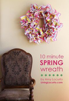 Easy Spring Wreath ~ You won't believe what it's made with!!!  http://LivingLocurto.com