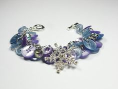 Blue & Purple Snowflake Button Bracelet by TreasuredSweets on Etsy