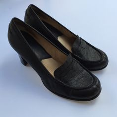Michael Kors heeled loafers This is a pair of MICHAEL Michael Kors loafers with heels. They are leather and size 10. They are in great condition. There are some nicks on the back of the heels which I noted in a photo. Michael Kors Shoes