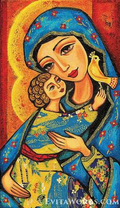 Mary and Jesus Folk Art Icon Religious Painting Mothers Love Mothers Day Mother and Child Wall Decor, Home Decor, woman art, woodblock, CG Catholic Art, Religious Art, Virgin Mary Art, Images D'art, Eyes Artwork, Jesus Painting, Mary And Jesus, Madonna And Child, Art Icon