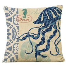Ouneed Marine Style Cotton Linen Cushion Cover