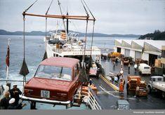 """MS """"Haugesund"""" og  MF """"Tungenes"""" losser i Kopervik, Rogaland. 25.07.1970."""