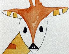 Meet Scooter - he loves making new friends Matted to a 4 x 6 for easy cheesy framing  for more watercolors visit me at http://www.terrablueart.etsy.com mixed media http://www.deborahmcgeeart.etsy.com greeting cards http://www.blackplumart.etsy.com