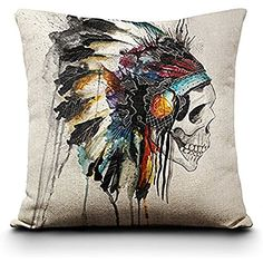 Fund Vintage 18'' X 18''colorful Sugar Skull Mexican Day of the Dead Linen Throw Pillow Cushion Cover (American Indian)