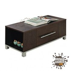 Coffee Table Dark Wood Walnut 1 Drawer Open Ends Marlow Occasional Table | Brown Source