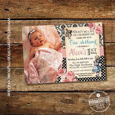 Wonderland birthday invitation Alice One-derland by myooakboutique