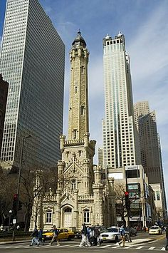 The historic Water Tower, near the John Hancock Center, Chicago, Illinois…