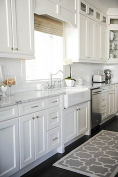 white and light gray kitchen