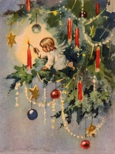 #1381 40s Brownie Erica Von Kager Angel Lights Candle- Vtg vintage Christmas Card angel in tree