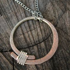 A Bit of Mystery - Hand Crafted Silver and Copper Pendant - Artisan Tangleweeds Jewelry