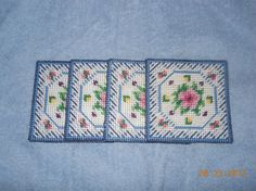 Floral Coasters in Plastic canvas by SpyderCrafts on Etsy, $6.00