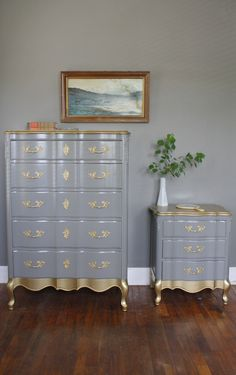 Gold Detail French Provincial Bedroom Set. $800.00, via Etsy.