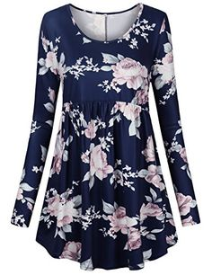 FANSIC Women Floral TopsLong Sleeve Empire Waist A Line Flowy Tunics Blouses XLarge Blue and Pink *** You can find more details by visiting the image link. (This is an affiliate link)
