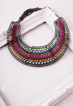 Collier plastron fantaisie à perles multicolores - Accessoires - Bijoux - Missguided