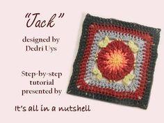 Jack - Optional square for Sophie's Universe CAL part 19 Crochet Mandala, Crochet Motif, Free Crochet, Crochet Patterns, Crochet Granny, Knitting Videos, Crochet Videos, Crochet Bedspread, Crocheted Afghans