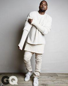 kanye west yeezy yeezus long tee menswear white urban menswear all white everything celebrities in white
