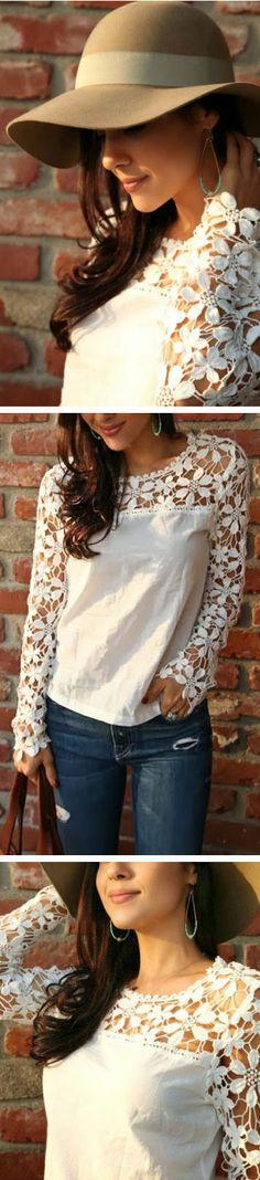 Floral Cut-Out Crochet Top ❤︎