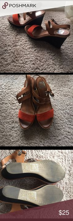 Used Wedges Dolce Vita wedges worn ones. Orange, brown and black. Comfortable, but not really my style. Lower prices and free shipping when ordering via my website https://diana-gavrilova.squarespace.com. If an item is not listed, leave a comment and I will add it for you. Dolce Vita Shoes Wedges