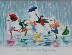 This art print, Grace Is the Smell of Rain, is 8 x 11 from an original acrylic painting, on 100 pound paper. Inspired by a song written by