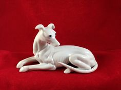 Vintage 6 1/2  Ceramic Shelf Sitter White Greyhound Whippet Dog Figurine Statue