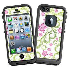 Pink Floral and Green Swirls #Skin  for the #lifeproof #iphone5 and #iphone5s #Case by #Skinzy.com