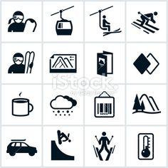 Black Ski Icons Royalty Free Stock Vector Art Illustration