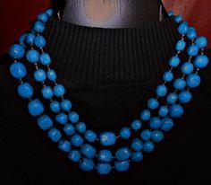 Vivid BLUE Triple Strand Chunky NECKLACE by HeyGrandmaHadThat