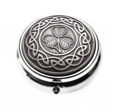 Antique Finish Pillbox Shamrock in Celtic Knot - Timeless Irish Treasures