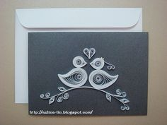 Quilled love birds wedding card